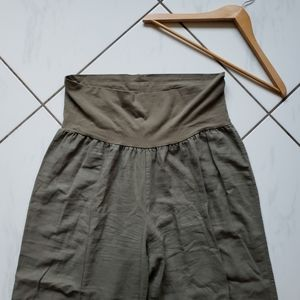Linen blend wide leg casual business pants palazzo